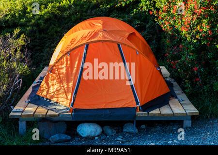 Camp tents; Refugio Cuernos; Lago Nordenskjold; Torres del Paine National Park; Chile - Stock Photo