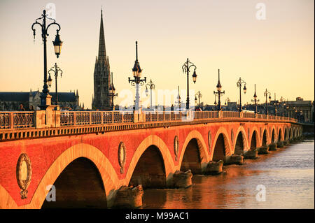 Pont de Pierre Bridge over La Garonne river Bordeaux Gironde Nouvelle-Aquitaine France - Stock Photo