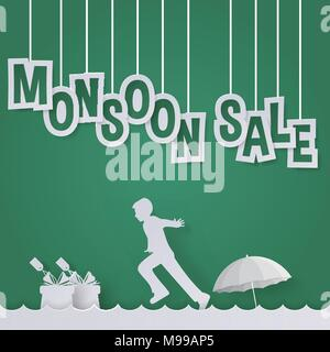 monsoon sale or rainy season sale offer for discount holiday promotion ads with children/kid, gift and umbrella in paper art style - Stock Photo