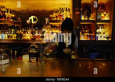 The MC Cocktail & Whiskey bar in Shenzhen. - Stock Photo