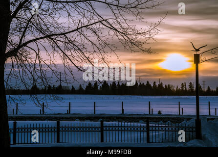 Beautiful Field View at Sunset in Winter - Stock Photo