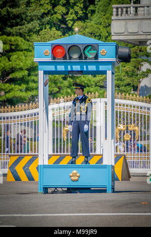 Seoul, South Korea. October 2012: Police guard the entrance and orders the traffic near the President's residence also known as the Blue House - Stock Photo