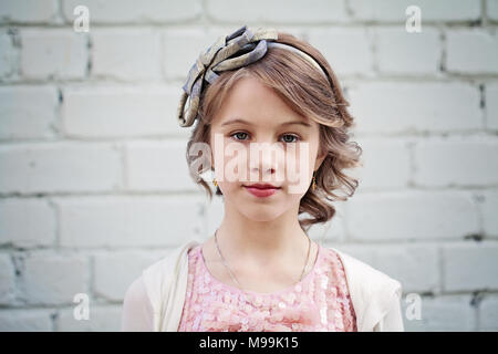 Cute smile. Fashionable hairstyle for kids. Girl small kid with fashionable braids hairstyle ...