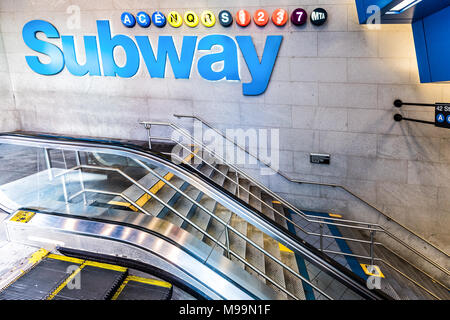 New York City, USA - October 28, 2017: Underground transit by sign in NYC Subway Station, sign for Port Authority by midtown Times Square, colorful ne - Stock Photo