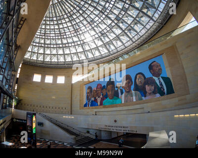 Los Angeles, MAR 3: Interior view of the famous Union Station on MAR 3, 2018 at Los Angeles - Stock Photo