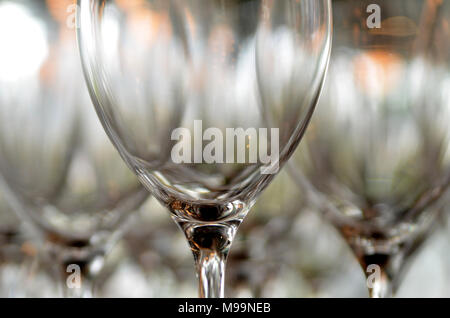 Glass glasses for wine standing on the table. Wine glass close-up - Stock Photo