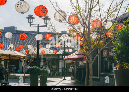 Los Angeles, MAR 3: Many red and white lanterns hanging over the Japanese Village Plaza on MAR 3, 2018 at Los Angeles - Stock Photo