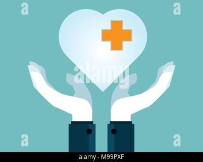 human hands holding heart flat design vector background - Stock Photo