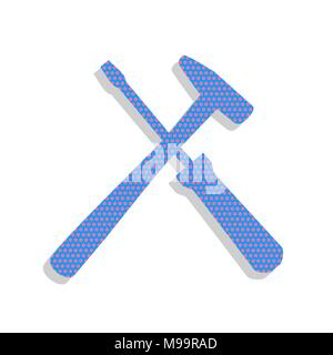Tools sign illustration. Vector. Neon blue icon with cyclamen polka dots pattern with light gray shadow on white background. Isolated. - Stock Photo