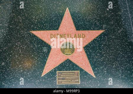 Los Angeles, JUN 23: Star Walk of Fame of the famous Disneyland on JUN 23, 2017 at Los Angeles, California - Stock Photo