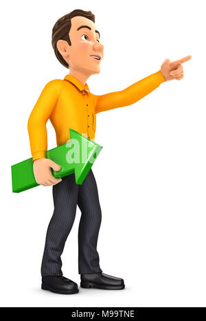 3d man holding green arrow and pointing direction, illustration with isolated white background - Stock Photo