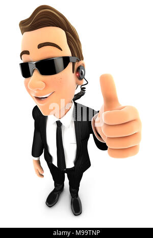 3d security agent positive pose with thumb up, illustration with isolated white background - Stock Photo