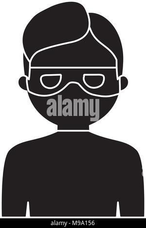 cartoon thief icon over white background, vector illustration - Stock Photo