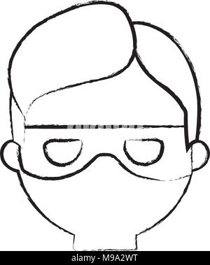 sketch of cartoon thief face icon over white background, vector illustration - Stock Photo