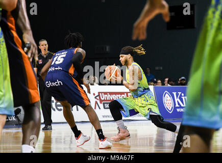 Worcester, UK. 23rd March, 2018. Mackey McKnight of the Sheffield Sharks dribbles the ball in their match up against Worcester Wolves.  Sharks coming out on top 96-92 Credit: Julia Summers/JS Sport Photography - Stock Photo