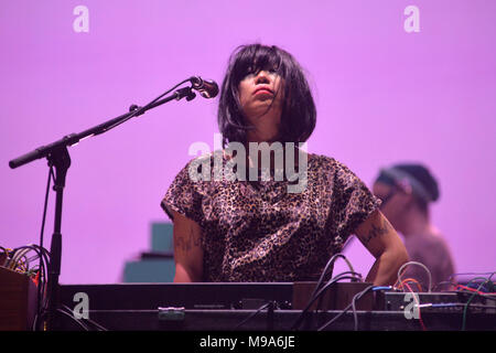 Sao Paulo, Brazil. 23rd March, 2018. SoundSystem LCD band presents at the 2014 Lollapalooza festival, held at the Autodromo de Interlagos in São Paulo, on the afternoon of this Friday, 23 (PHOTO: LEVI BIANCO/BRAZIL PHOTO PRESS) Credit: Brazil Photo Press/Alamy Live News - Stock Photo