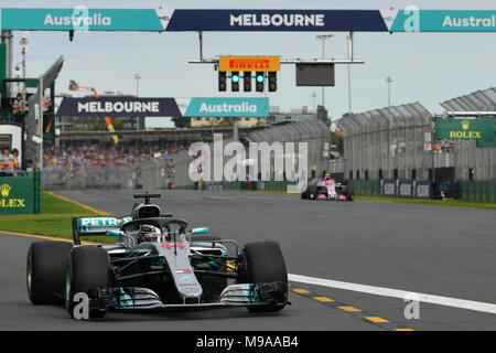 Albert Park, Melbourne, Australia. 24th Mar, 2018. Lewis Hamilton (GBR) #44 from the Mercedes AMG Petronas Motorsport team leaves the pit for his qualifying lap at the 2018 Australian Formula One Grand Prix at Albert Park, Melbourne, Australia. Sydney Low/Cal Sport Media/Alamy Live News - Stock Photo