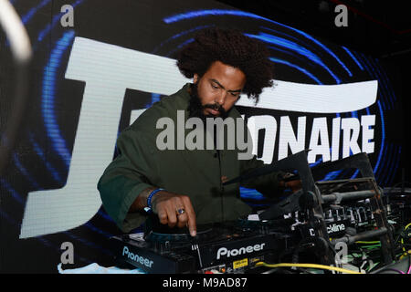 Miami Beach, FL, USA. 23rd Mar, 2018. Jillionaire performs during Miami Music Weekend Hits 97.3 Hotel at the Clevelander Hotel on March 23, 2018 in Miami Beach, Florida. Credit: Mpi04/Media Punch/Alamy Live News - Stock Photo