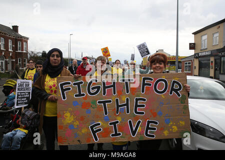 Salford, UK. 24th March, 2018. Families march to save Salford local authority nurseries which had been under threat of closure.  The Mayor has confirmed the status of the nurseries for the next 12 months and that he has agreed to put another £1.5m of Council money into them for that period Swinton, Salford, 24th March, 2018 (C)Barbara Cook/Alamy Live News - Stock Photo