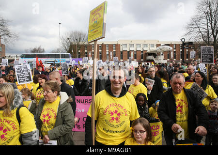 Salford, UK. 24th March, 2018. A rally to save Salford local authority nurseries which had been under threat of closure.  The Mayor has confirmed the status of the nurseries for the next 12 months and that he has agreed to put another £1.5m of Council money into them for that period Swinton, Salford, 24th March, 2018 (C)Barbara Cook/Alamy Live News - Stock Photo