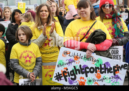 Salford, UK. 24th March, 2018. Rally to save Salford local authority nurseries which had been under threat of closure.  The Mayor has confirmed the status of the nurseries for the next 12 months and that he has agreed to put another £1.5m of Council money into them for that period Swinton, Salford, 24th March, 2018 (C)Barbara Cook/Alamy Live News - Stock Photo