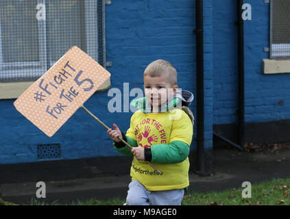 Salford, UK. 24th March, 2018. A young boy with a sign which reads 'Fight for the 5', Swinton, Salford, 20th March, 2018 (C)Barbara Cook/Alamy Live News - Stock Photo