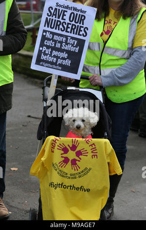 Salford, UK. 24th March, 2018. A small dog sitting in a pram at a 'Save our nurseries' protest, Swinton, Salford, 24th March, 2018 (C)Barbara Cook/Alamy Live News - Stock Photo