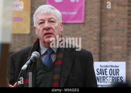 Salford, UK. 24th March, 2018. Graham Stringer, MP speaking at a rally to save Salford Schools, Swinton, Salford, 20th March, 2018 (C)Barbara Cook/Alamy Live News - Stock Photo