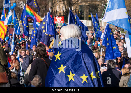 Edinburgh, Scotland,UK. 24 March 2018. March for Europe: Democracy on Brexit march and demonstration outside the Scottish Parliament at Holyrood today.  Large crowd of pro-Europe anti-Brexit protestors met to listen to speeches. Credit: Iain Masterton/Alamy Live News - Stock Photo