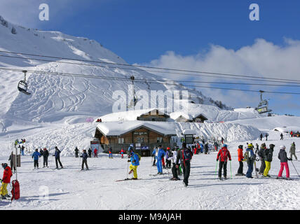 The busy ski resort of Chatel in the Portes du Soleil area of France, restaurants at Pre La Joux - Stock Photo