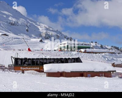 The busy ski resort of Chatel in the Portes du Soleil area of France - Stock Photo