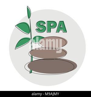 Vector Spa Logo template. Spa stones hand drawn illustration for spa logo design - Stock Photo