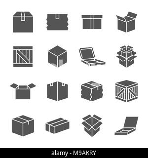 Simple set of box and crates related vector icons for your design. EPS 10 - Stock Photo