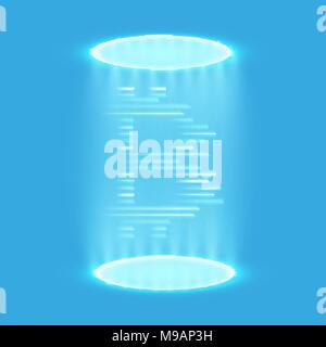 Bitcoin teleportation. Bitcoin mining, conceptual illustration.. Digital money. Concept design of cryptocurrency. Sign bitcoin on blue background with generation particles energy. Vector illustration. - Stock Photo