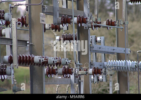 electricity substation compound part of the electrical distribution network in west cork, ireland - Stock Photo