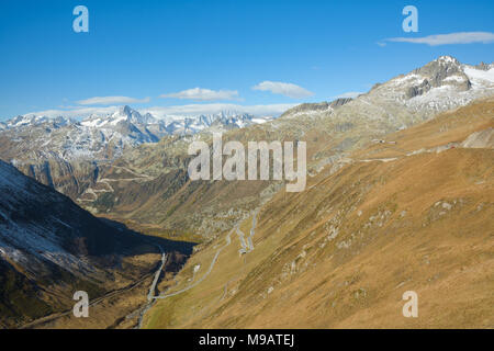 View from Furka pass on Grimsel pass and Swiss Alps - Stock Photo