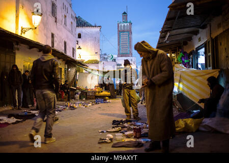Ayuon street, in background Sidi Haj Ali Baraka Zaouia, medina, UNESCO World Heritage Site,Tetouan, Morocco - Stock Photo