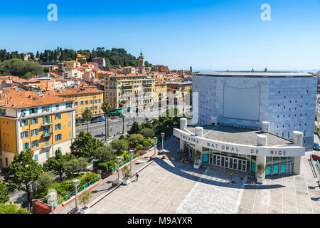 NICE, FRANCE - JUNE 23, 2016: Aerial view of the National Theater of City of Nice (Theatre National de Nice) and Promenade des Arts - Stock Photo