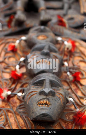 Face Wood Crafting on Cultural Festival Asmat, Papua, Indonesia - Stock Photo