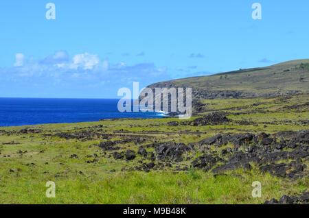 Sea view from the slopes of Terevaka volcano, Rapa Nui (Easter Island) - Stock Photo