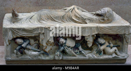 Christ Entombed 14th – 15th cent. Portugal, Portuguese, ( Convento de Santa Clara )  The body is wrapped in a thin cloth.  Soldiers, dressed in chain mail with their swords and shields. - Stock Photo