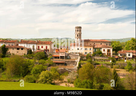 View of the old town of Rimont in Ariège, southern France - Stock Photo