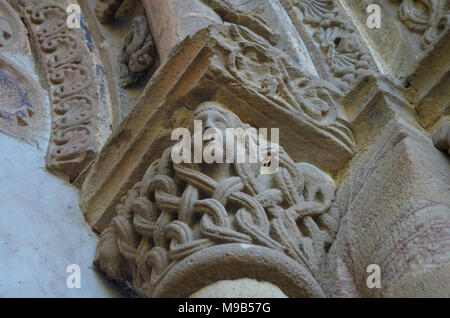 Medieval monastery of Leyre (northern Navarre), built in Romanesque style - Stock Photo