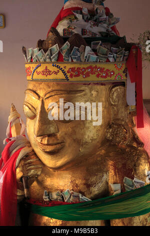 Myanmar, Bagan, Shwezigon Pagoda, Nat spirit, statue, - Stock Photo