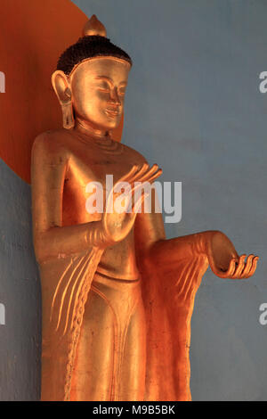 Myanmar, Bagan, Shwezigon Pagoda, Buddha statue, - Stock Photo