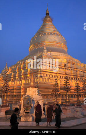 Myanmar, Burma, Bagan, Nyaung U, Shwezigon Pagoda, - Stock Photo