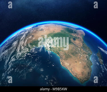 Earth viewed from space with focus on Africa. Detailed 3D render against dark starry night sky (Elements of this render furnished by NASA) - Stock Photo