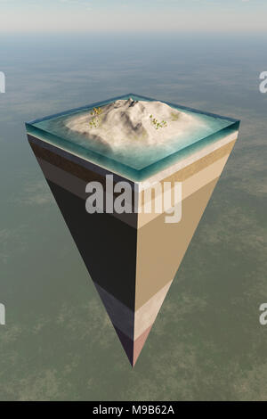 Earth core structure illustrated with a layered cross-section shown high in the sky. 3D rendered artwork - Stock Photo
