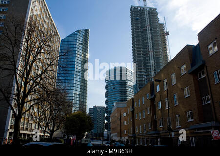 London City Road Moreland Street towers canaletto carrara tower and the lexicon - Stock Photo