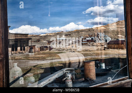 Bodie is a historic ghostown by highway 395 in the Eastern Sierras. - Stock Photo